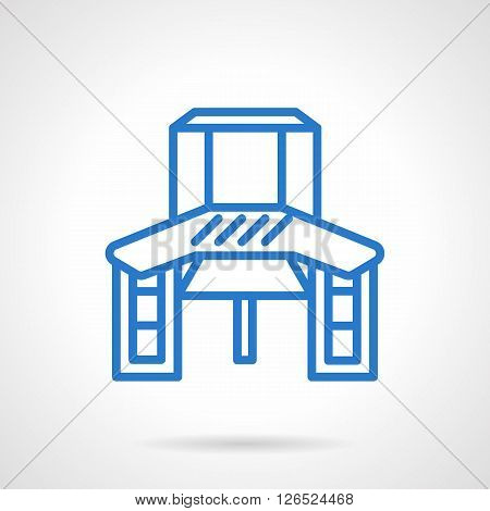 Table for crafts work. Hobbies workplace furniture. Desk with shelves and drawers. Simple black line vector icon. Single element for web design, mobile app.