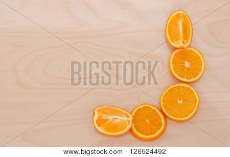 Slices of orange in the section on the Board