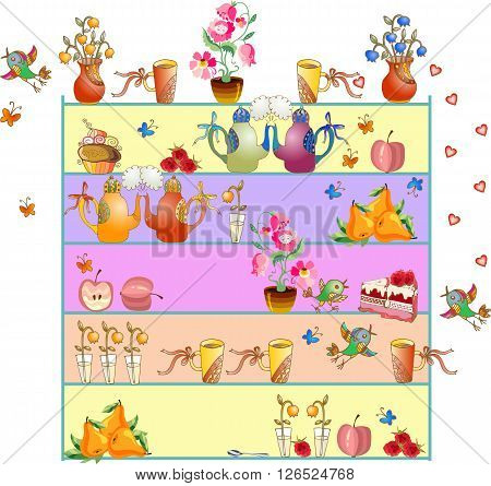 Shelves with teapots, teacups, flowers, apples, pears, cakes, flying birds and butterflies. Cute kitchen design. Beautiful colorful hand drawn vector illustration.