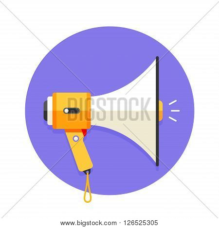 Icon of megaphone or mouthpiece. White and orange megaphone on a violet background. Vector illustration