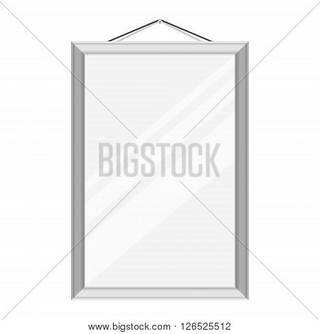 Vector illustration realistic mirror with silver metallic frame hanging on the wall template design.