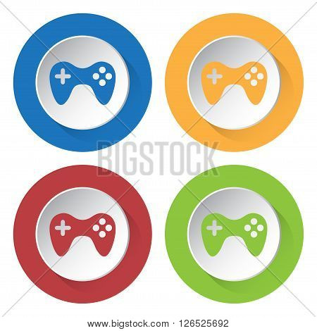 set of four colored icons with gamepad