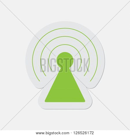 simple green icon with contour and shadow - transmitter on a white background