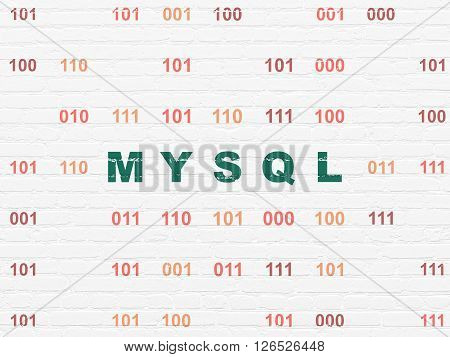Software concept: MySQL on wall background