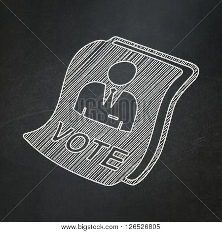 Politics concept: Ballot on chalkboard background