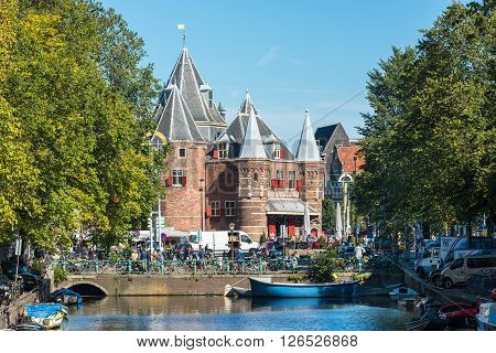 View Of The Waag Weigh House In Amsterdam