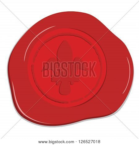 Vector illustration red wax seal with heraldic lily. Red wax post stamp isolated on white background
