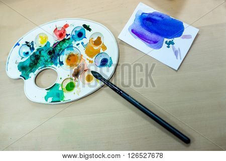 palette for painting on the table. palette for painting on the table