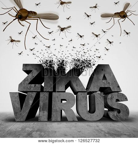 Zika virus danger concept as a 3D illustration text transforming to a group of swarming infectious mosquitos spreading disease as an outbreak epidemic public health risk and fear symbol.