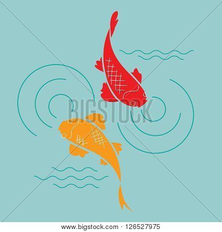 japanese goldfish in the pond vector illustration
