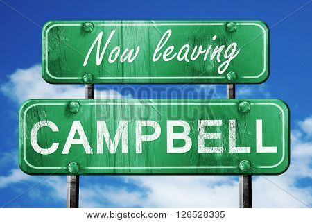 Now leaving campbell road sign with blue sky