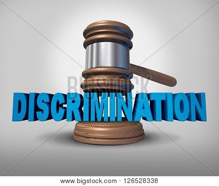 Discrimination law concept as a legal metaphopr for injustice in society as a judge gavel coming down on text as a 3D illustration.