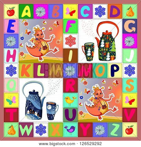 Tea party with happy dragons. Childish patchwork pattern with fantasy dragons teapots and alphabet. Cute colorful vector illustration of quilt.