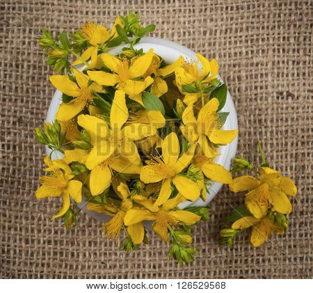 Fresh yellow flowers of medicinal plant St. John's Wort in a bowl, burlap background, from above