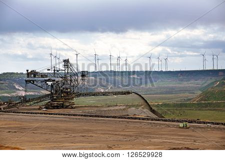 large machine at the lignite (brown coal) strip mining Garzweiler Germany a surface mine for power generation with significant impact on the environment