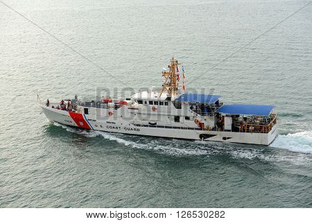 KEY WEST, FL, USA - JAN 1: USCGC Kathleen Moore (WPC-1109) is a Sentinel class cutter home-ported in Key West on January 1st, 2015 in Key West, Florida, USA.