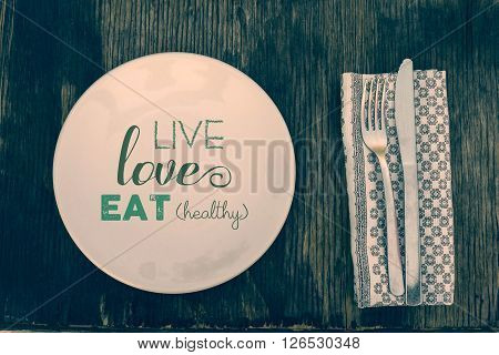 Top View Healthy Lifestyle Vintage Eating Concept