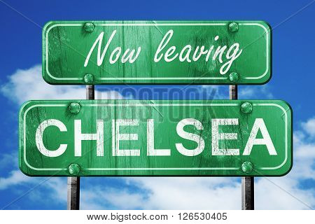 Now leaving chelsea road sign with blue sky