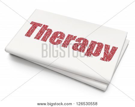 Health concept: Pixelated red text Therapy on Blank Newspaper background, 3D rendering