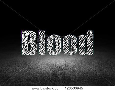 Healthcare concept: Blood in grunge dark room