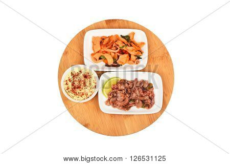 Two Seafood Salads On Wooden Board
