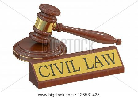Wooden gavel and handcuffs civil law concept. 3D rendering
