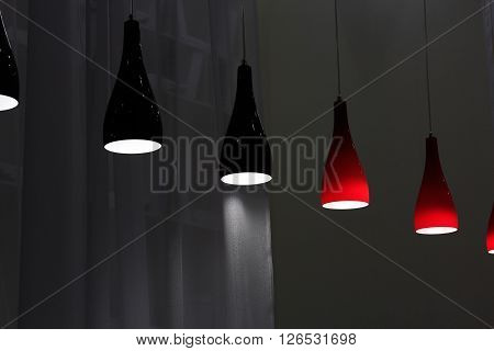 Black and red glass modern pendant lamps.