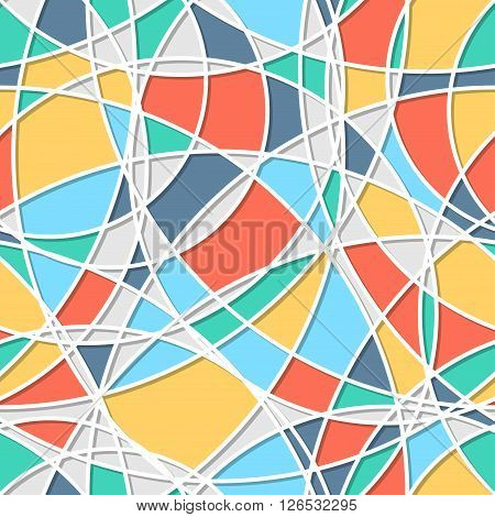 Seamless pattern of circles. Trendy texture. Endless stylish backdrop. Colorful lines and shapes. Cloth design  wrapping