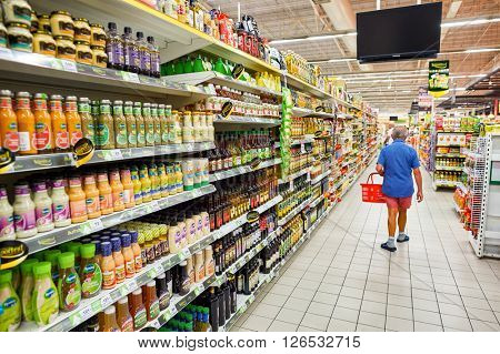 PATTAYA, THAILAND - CIRCA FEBRUARY, 2016: inside Big C Extra hypermarket. It offers a wider range of premium fresh and dry food items, imported products, and wine than a Big C Supercenter.