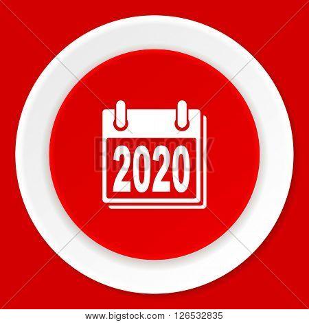 new year 2020 red flat design modern web icon