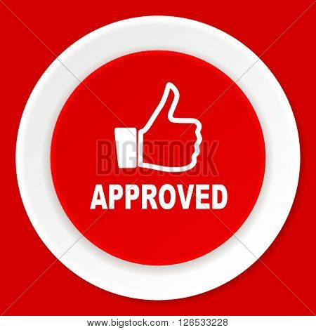 approved red flat design modern web icon