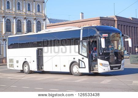 St. Petersburg, Russia - March, 13, 2016: Bus on the parking in St. Petersburg, Russia.