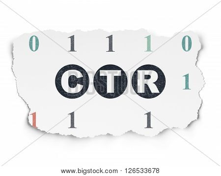 Business concept: CTR on Torn Paper background