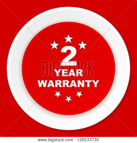 warranty guarantee 2 year red flat design modern web icon