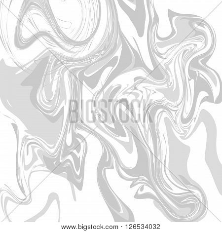 Ink hand drawn marble stone texture. Grey marbling liquid background vector.