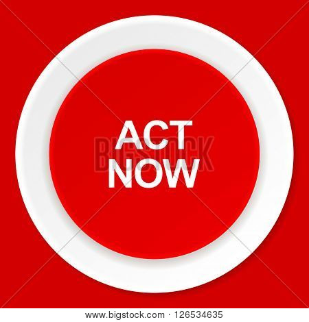 act now red flat design modern web icon