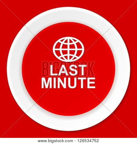 last minute red flat design modern web icon