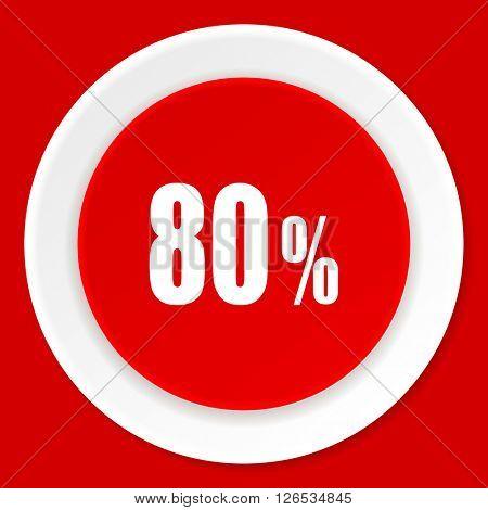 80 percent red flat design modern web icon