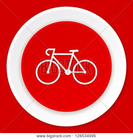 bicycle red flat design modern web icon