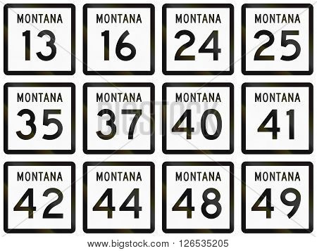 Collection Of Montana Route Shields Used In The United States