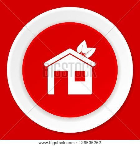 house red flat design modern web icon