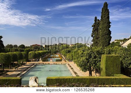 CORDOBA, SPAIN - September 10, 2015: Early morning at the gardens of the Alcazar of the Catholic Monarchs on September 10, 2015 in Cordoba, Spain