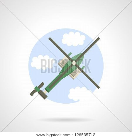 Green reconnaissance helicopter in a sky. Military air vehicles. Flat color round vector icon. Web design element for site, mobile and business.
