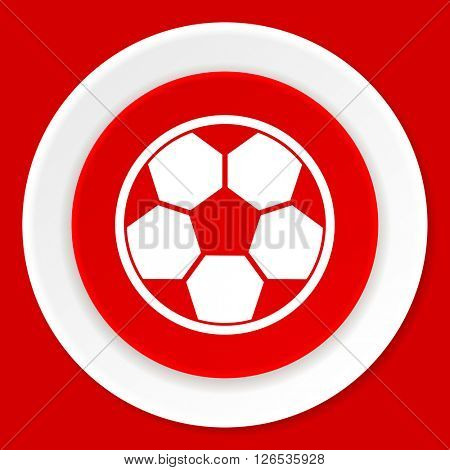 soccer red flat design modern web icon