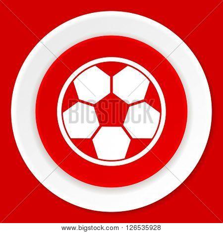 soccer red flat design modern web icon