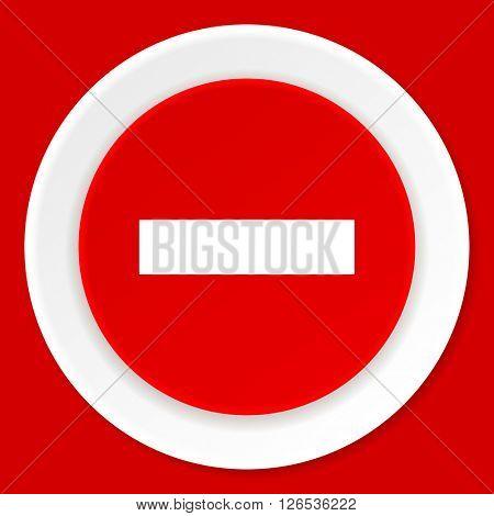 minus red flat design modern web icon