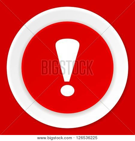 exclamation sign red flat design modern web icon