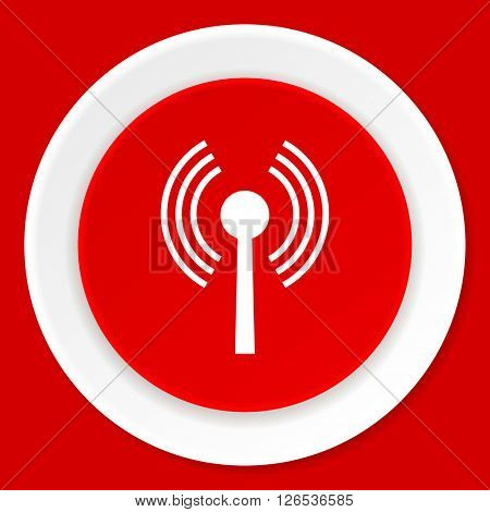 wifi red flat design modern web icon