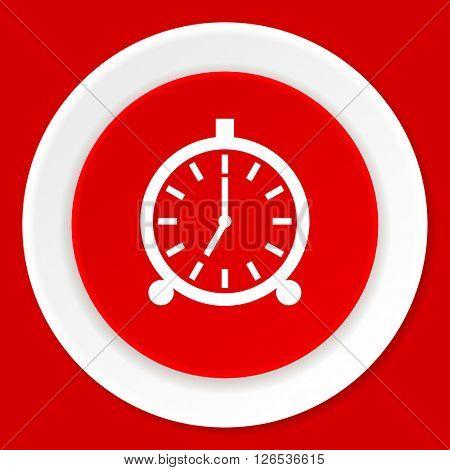 alarm red flat design modern web icon