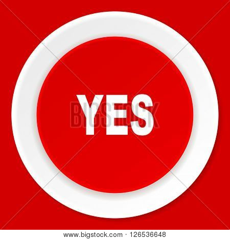 yes red flat design modern web icon